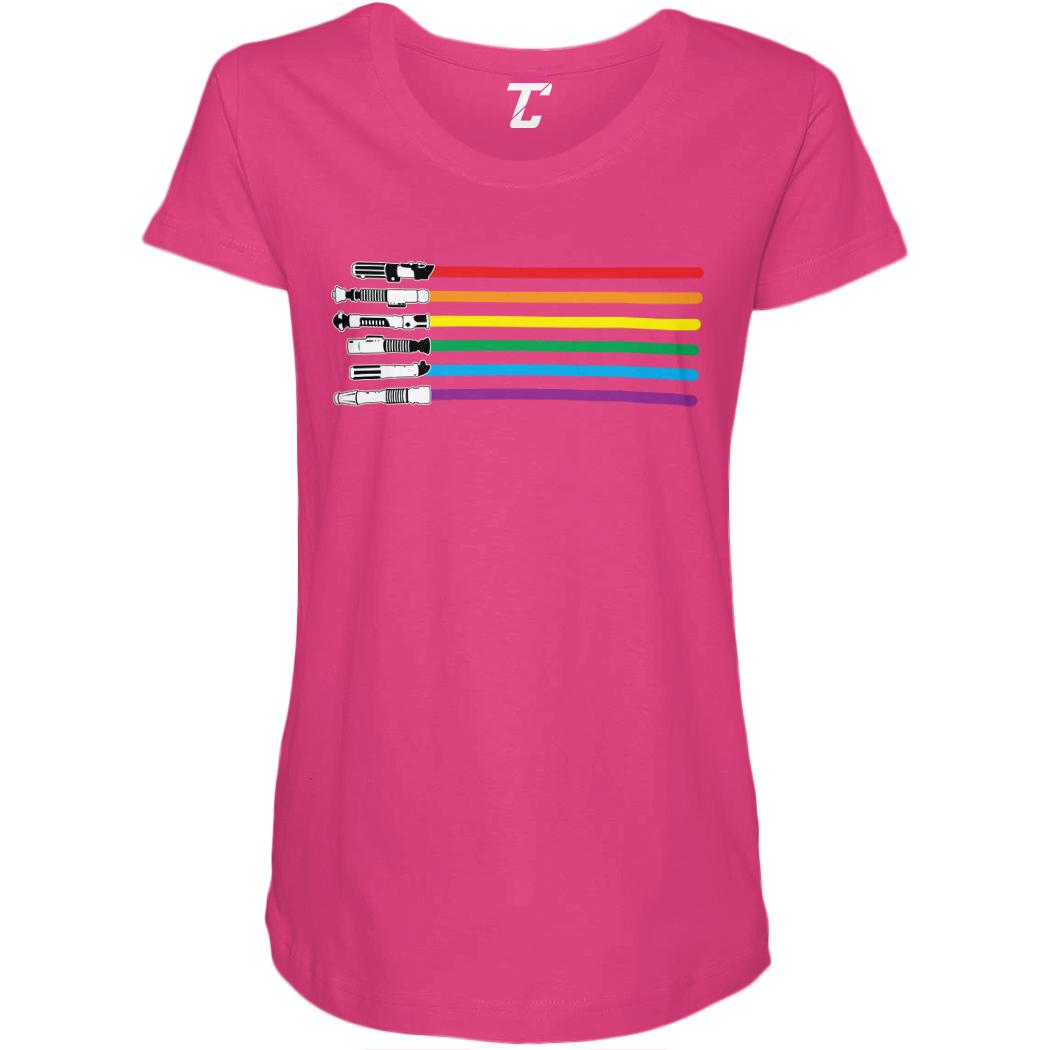 Rainbow Lightsaber Force Sci Fi Parody Women/'s Curvy T-Shirt
